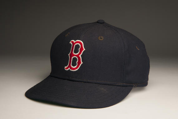 Cap worn by Red Sox pitcher Roger Clemens when he set a new Major League record by striking out 20 Seattle Mariners on April 29, 1986. Clemens would go on to win the American League Cy Young Award and MVP that season. B-50-86 (Milo Stewart, Jr. / National Baseball Hall of Fame)