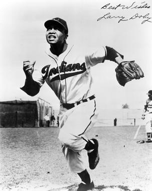 Larry Doby played for the Cleveland Indians for 10 seasons of his 13 year-long major league career. (National Baseball Hall of Fame and Museum)