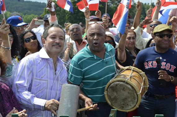 Fans from the Dominican Republic made plenty of noise in support of Class of 2015 inductee Pedro Martínez, a Dominican native, at the 2015 Hall of Fame Induction Ceremony on Sunday in Cooperstown. (Josh Szot / National Baseball Hall of Fame)