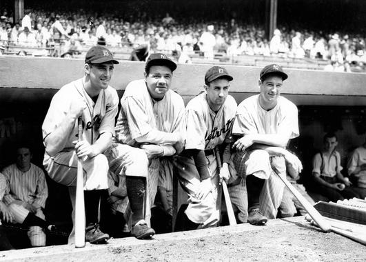 Charlie Gehringer, shown with (from left) Tigers teammate Hank Greenberg and Babe Ruth and Lou Gehrig of the Yankees, was a six-time All-Star who finished in the Top 10 of the AL MVP voting eight times. (National Baseball Hall of Fame and Museum)