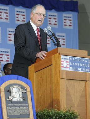 Pat Gillick giving his acceptance speech during the 2011 Baseball Hall of Fame Induction Ceremony. (Milo Stewart, Jr. / National Baseball Hall of Fame)
