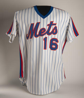 Jersey worn by the New York Mets' Dwight Gooden on Sept. 12. 1984 when he recorded his 246th strikeout of the season to break the National League record for most strikeouts by a rookie. B-486-84. (Milo Stewart, Jr. / National Baseball Hall of Fame)