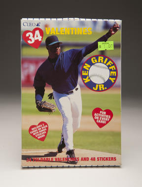 A Ken Griffey Jr. Valentine's Day card, featuring a rare appearance on the pitcher's mound. B-547-2011 (Milo Stewart, Jr. / National Baseball Hall of Fame)