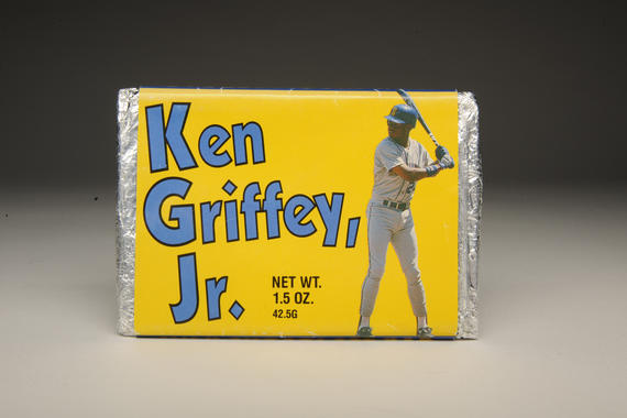 The Ken Griffey Jr. chocolate bar was released just one month after Griffey's major league debut in 1989. This surviving bar is on display in the Museum's <em>Whole New Ballgame</em> exhibit. BAA-167-3d (Milo Stewart, Jr. / National Baseball Hall of Fame)