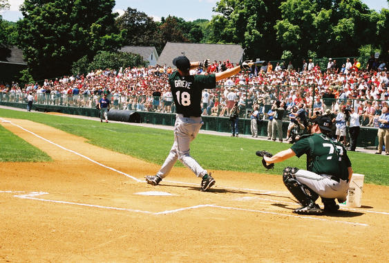 Ben Grieve of the Tampa Bay Devil Rays participates in the Home Run Derby prior to the 2003 Hall of Fame Game. (Milo Stewart Jr./National Baseball Hall of Fame and Museum)