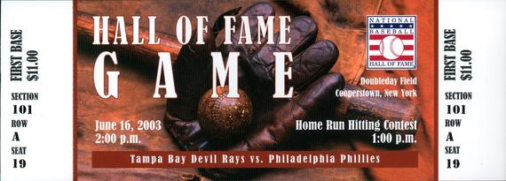 A ticket to the 2003 Hall of Fame Game between the Tampa Bay Devil Rays and the Philadelphia Phillies. (Milo Stewart Jr /National Baseball Hall of Fame and Museum)