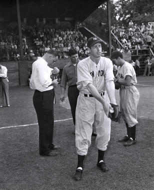 Joe DiMaggio standing near home plate at the 1947 Hall of Fame Game. (National Baseball Hall of Fame and Museum)