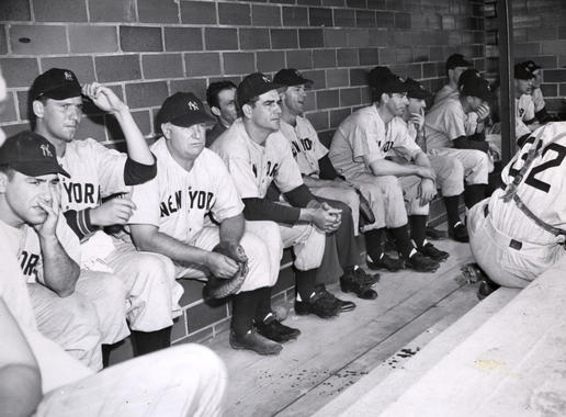 New York Yankees sitting in the dugout at Doubleday Field. BL-3526.2000 (National Baseball Hall of Fame Library)