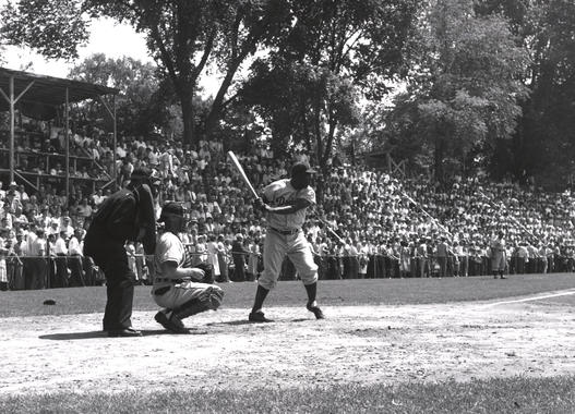 Jackie Robinson photographed during one of his four plate appearances at the 1951 Hall of Fame Game. He would go 0-for-4 that day. (National Baseball Hall of Fame and Museum)