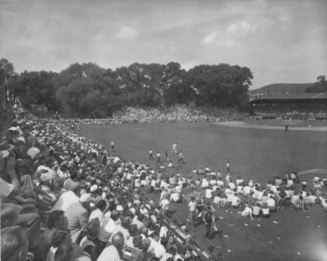 Another view from the outfield of the fans taking in the 1951 Hall of Fame Game.