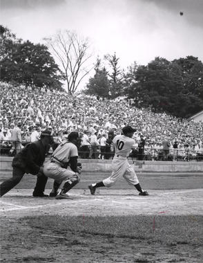 New York Yankee, and future Hall of Famer, Phil Rizzuto batting in the Hall of Fame Game. BL-3529.2000 (National Baseball Hall of Fame Library)
