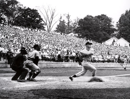 Mickey Mantle captured in his backswing. Mantle hit a solo home run in the top of the first inning. BL-115.94 (National Baseball Hall of Fame Library)