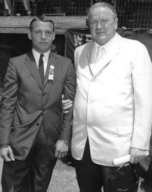 The 1959 American Legion Player of the Year, Fred Bowen, with Joe Cronin. (National Baseball Hall of Fame Library)