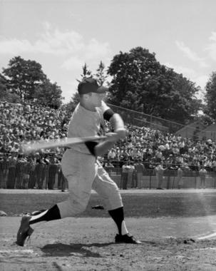 Mickey Mantle takes a swing at Doubleday Field on July 26, 1965. (National Baseball Hall of Fame and Museum)
