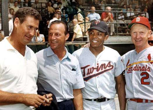 Red Schoendienst (far right) pictured alongside Ted Williams (far left), Stan Musial and Tony Oliva during Hall of Fame Weekend in 1966. (National Baseball Hall of Fame and Museum)