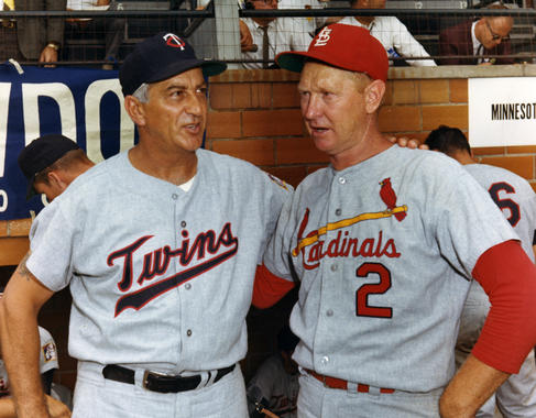 Sam Mele, the manager of the Minnesota Twins, and future Hall of Famer Red Schoendienst at Doubleday Field on July 25, 1966, for the Hall of Fame Game. (National Baseball Hall of Fame and Museum)
