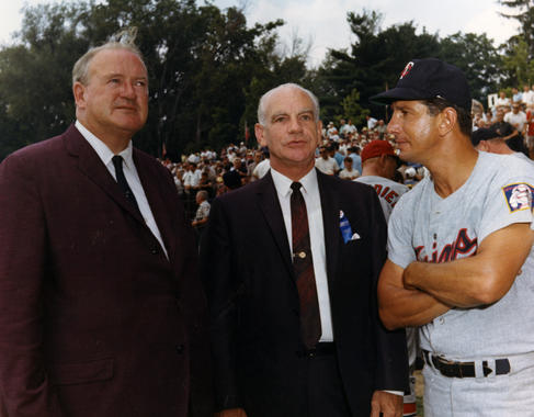 From left, Hall of Famer Joe Cronin and MLB Commissioner William Eckert chat with Twins coach Billy Martin at the 1966 Hall of Fame Game. (National Baseball Hall of Fame and Museum)