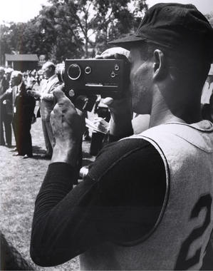 Roberto Clemente of the Pirates capturing the action at the Hall of Fame Game on July 22, 1968. (National Baseball Hall of Fame and Museum)