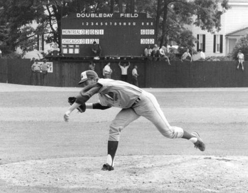 John O'Donoghue pitched five innings for the Expos in the Hall of Fame Game. (National Baseball Hall of Fame Library)