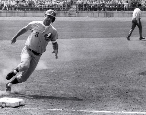 Bob Bailey of the Montreal Expos rounds third base at the 1970 Hall of Fame Game. (National Baseball Hall of Fame and Museum)
