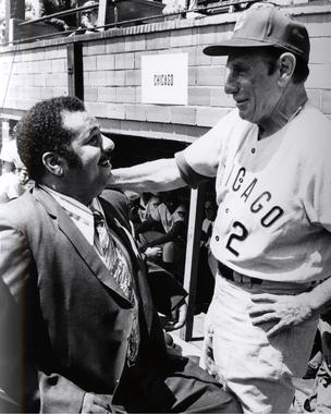 Hall of Famer Roy Campanella chats with future Hall of Famer Leo Durocher before the Hall of Fame Game on Aug. 9, 1971. (National Baseball Hall of Fame and Museum)