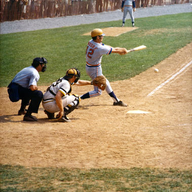 Texas Rangers coach Jackie Moore at bat during the 1973 Hall of Fame Game. (National Baseball Hall of Fame Library)