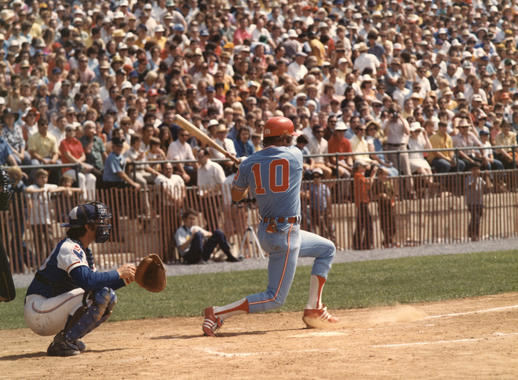 Future Hall of Famer Ron Santo of the White Sox at bat during the 1974 Hall of Fame Game. (National Baseball Hall of Fame and Museum)