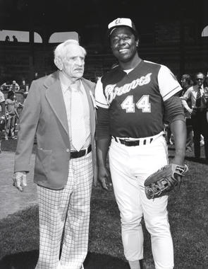Hank Aaron with Hall of Famer Casey Stengel at Doubleday Field. BL-4718.89 (National Baseball Hall of Fame Library)