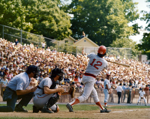 Bob Heise of the Boston Red Sox bats during the Hall of Fame Game on Aug. 18, 1975. (National Baseball Hall of Fame and Museum)