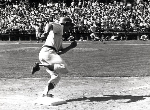 A Red Sox runner rounds third base during the 1975 Hall of Fame Game. (National Baseball Hall of Fame and Museum)