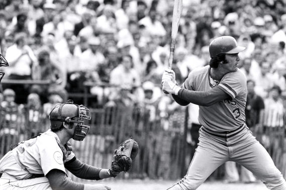The Brewers' Gorman Thomas bats with Ron Hodges behind the plate for the Mets on Aug. 9, 1976, during the Hall of Fame Game. (National Baseball Hall of Fame and Museum)