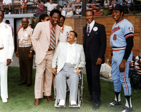 From left to right: Hank Aaron, Roy Campanella, Ernie Banks and Tony Oliva at Doubleday Field. BL-1207.92 (National Baseball Hall of Fame Library)