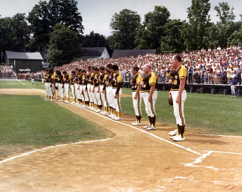 The San Diego Padres line up along the first base line for the National Anthem at the 1979 Hall of Fame Game. Manager Roger Craig is nearest to home plate. (National Baseball Hall of Fame and Museum)