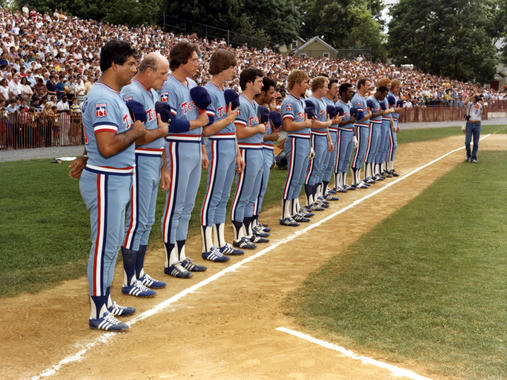 The Texas Rangers line up along the third base line for the National Anthem on Aug. 6, 1979, at the Hall of Fame Game. Rangers manager Pat Corrales is at far left. (National Baseball Hall of Fame and Museum)