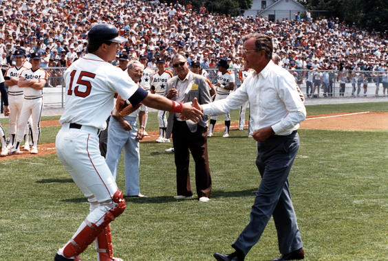 President George H. W. Bush shakes hands with Rich Gedman of the Red Sox before the game. BL-6324.85b (White House)