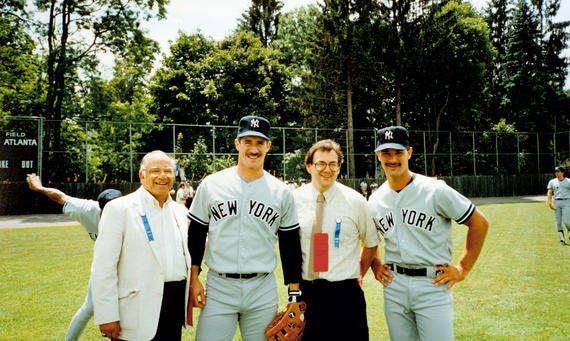 Yankees third baseman Mike Pagliarulo and first baseman Don Mattingly pose with fans before the game. BL-2387.88 (National Baseball Hall of Fame Library)