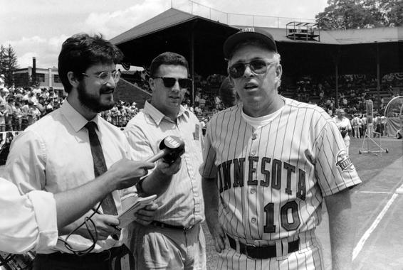 Twins manager Tom Kelly speaks with the media prior to the 1991 Hall of Fame Game. (National Baseball Hall of Fame and Museum)