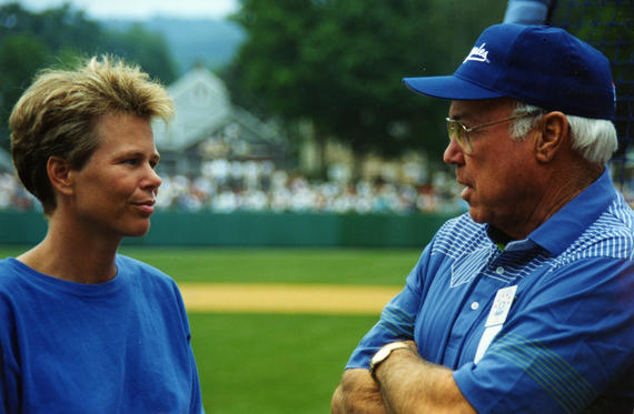 Retired basketball player and sportscaster Ann Meyers Drysdale chats with Hall of Famer Duke Snider at the 1993 Hall of Fame Game. (Milo Stewart, Jr./National Baseball Hall of Fame Library)