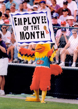 The San Diego Chicken entertains the fans during the 1997 Hall of Fame Game. (Tom Ryder/National Baseball Hall of Fame and Museum)