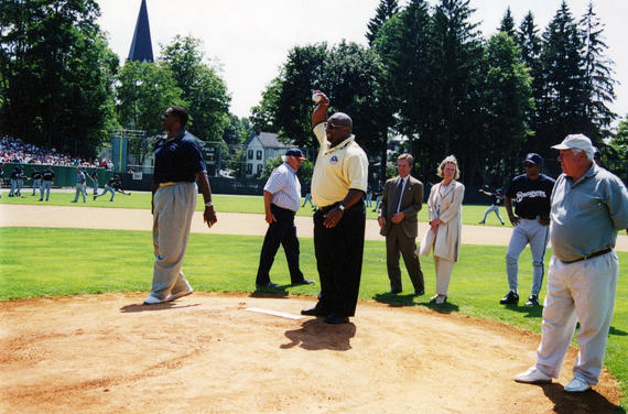 The 2001 Hall of Fame Inductees – Dave Winfield, Kirby Puckett and Bill Mazeroski – throw out the first pitches prior to the Hall of Fame Game on Aug. 6, 2001. (National Baseball Hall of Fame and Museum)