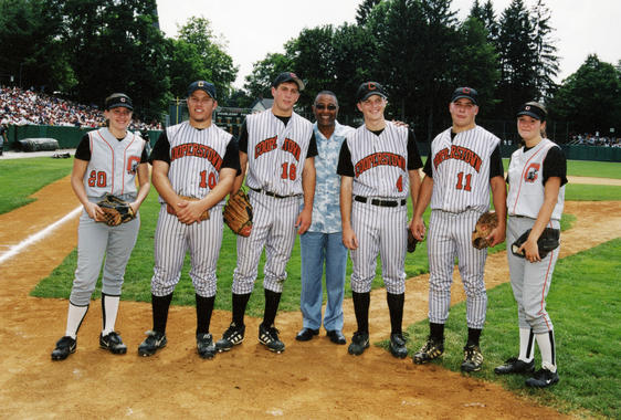 The batboys and ballgirls for the 2002 Hall of Fame Game. (National Baseball Hall of Fame Library)