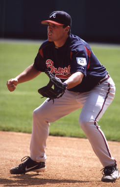 A Braves infielder readies himself for a potential hit. (National Baseball Hall of Fame Library)