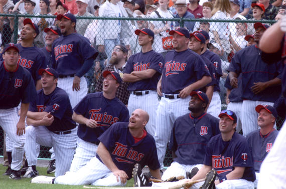 Twins players watch the Home Run Derby before the 2004 Hall of Fame Game. (Tom Ryder/National Baseball Hall of Fame and Museum)
