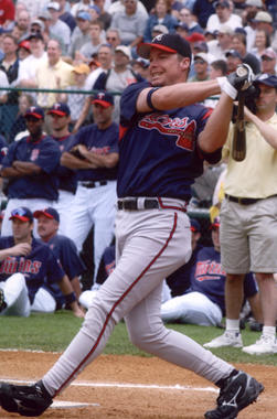 Future Hall of Famer Chipper Jones takes a cut during the Home Run Derby at the 2004 Hall of Fame Game. (Tom Ryder/National Baseball Hall of Fame and Museum)