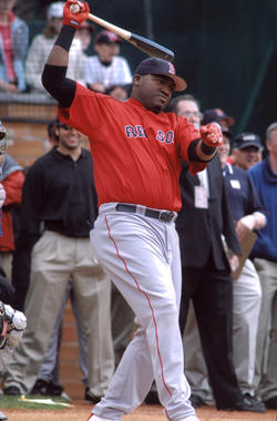 David Ortiz, designated hitter for the Red Sox, preparing to hit. BL-3308.2005.41 (Ton Ryder, National Baseball Hall of Fame Library)