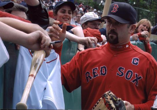 Boston Red Sox captain Jason Varitek signing autographs at the 2005 Hall of Fame Game. BL-3308.2005.44 (tom Ryder, National Baseball Hall of Fame Library)