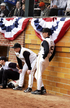 Pirates bench coach Jim Lett (right) watches the Home Run Derby at the 2006 Hall of Fame Game. (Milo Stewart Jr./National Baseball Hall of Fame and Museum)