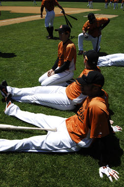 Baltimore players warm up prior to the Hall of Fame Game on May 21, 2007. (Milo Stewart Jr./National Baseball Hall of Fame and Museum)