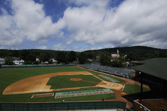 Blue skies were seen above Doubleday Field before the 2008 Hall of Fame Game. But just prior to first pitch, a thunderstorm rolled through Cooperstown, canceling the game. (Milo Stewart Jr./National Baseball Hall of Fame and Museum)