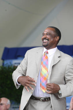 Jim Rice pictured at the 2009 Induction Ceremony in Cooperstown. (Bill Greenblatt / National Baseball Hall of Fame and Museum)